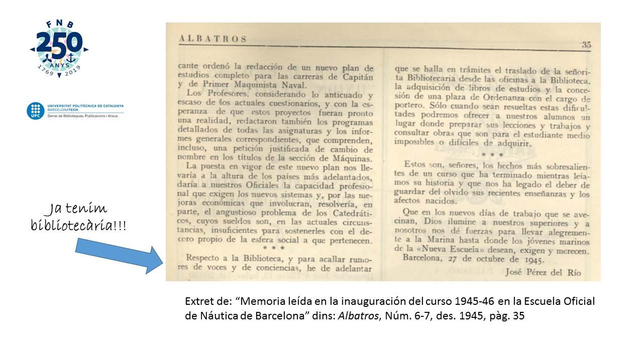 Notificación que habrá bibliotecaria (Albatros, Diciembre 1945)