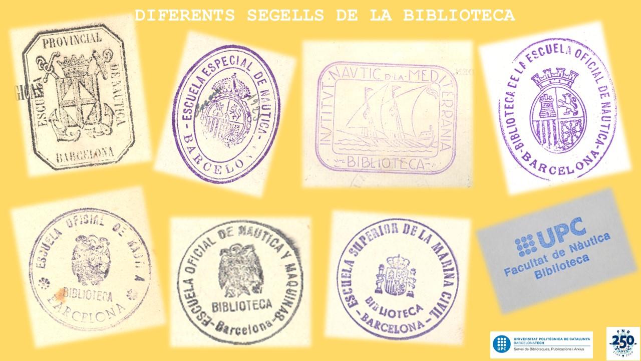 Varios sellos utitlitzats en la biblioteca FNB a lo largo de su historia