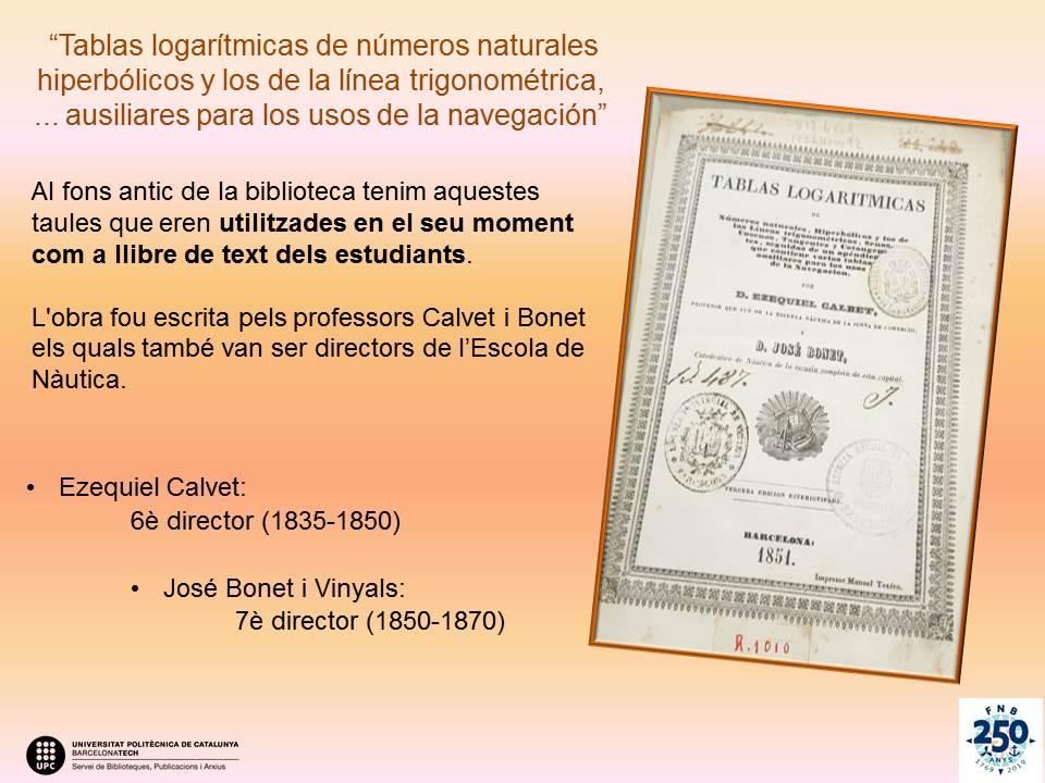 250 años: curiosidad de la biblitoeca: Tablas de Calvet y Bonet