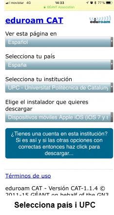 eduroam para iOS - paso 1