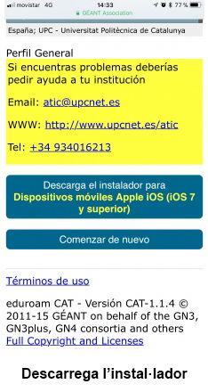 eduroam para iOS - paso 2