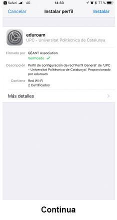 eduroam para iOS - paso 4