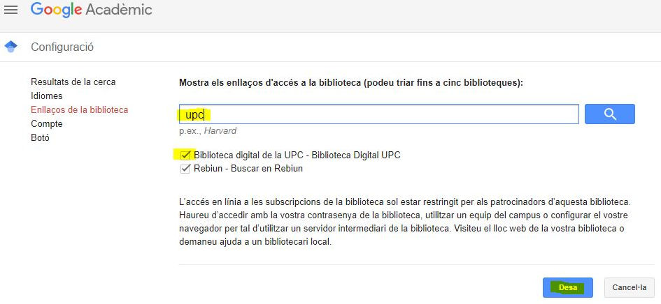 UPC Library configuration