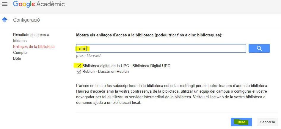 Configuración Biblioteca UPC