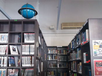 DVD shelves, cultural and history collection, with the ball of the world
