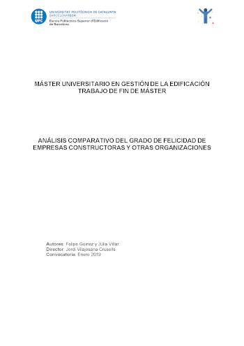 Análisis comparativo del grado de felicidad de empresas constructoras y otras organizaciones