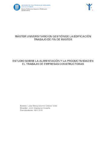 Estudio sobre la alimentación y la productividad en el trabajo de empresas constructoras